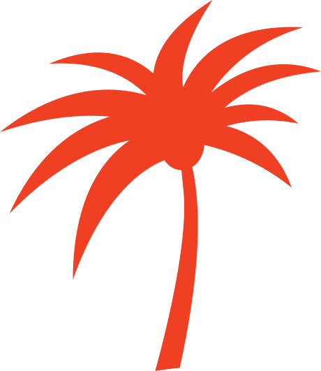 a red palm tree silhouette
